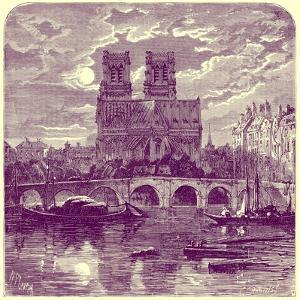 Cathedral of Notre Dame, Illustration from 'French Pictures' by Samuel Green, Published 1878 by Richard Principal Leitch