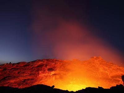 Erta Ale Volcano Lava Lake in the Incandescent Glowing Crater, Ethiopia