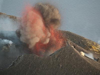Eruption of Stromboli Volcano, Eolian Islands, Italy, 2006