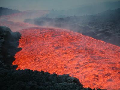 Lava Flow, Mount Etna Volcano 2006 Stratovolcano, Sicily Island, Italy