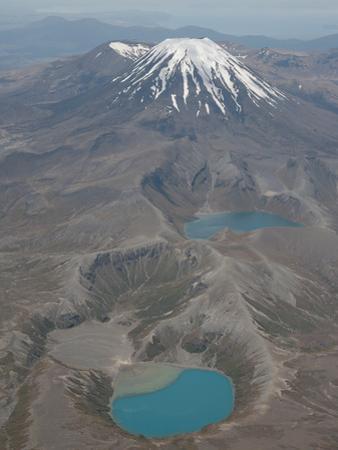 Ngauruhoe Cone of Tongariro Volcano and Tama Lakes, New Zealand