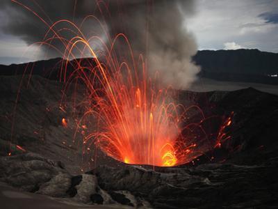 Strombolian Eruption of Mount Bromo Volcano, Tengger Caldera, Java, Indonesia
