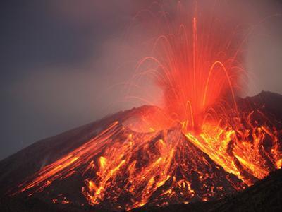 Vulcanian Eruption at Night of Lava from the Sakurajima Volcano, Japan