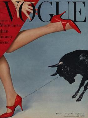 Vogue Cover - February 1958 - Running with the Bulls by Richard Rutledge