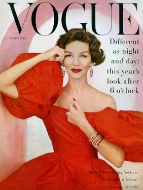 Vogue Cover - November 1956 by Richard Rutledge