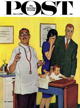 """""""Baby's First Shot,"""" Saturday Evening Post Cover, March 3, 1962 by Richard Sargent"""