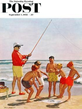 """Big Pole Little Fish"" Saturday Evening Post Cover, September 1, 1956 by Richard Sargent"