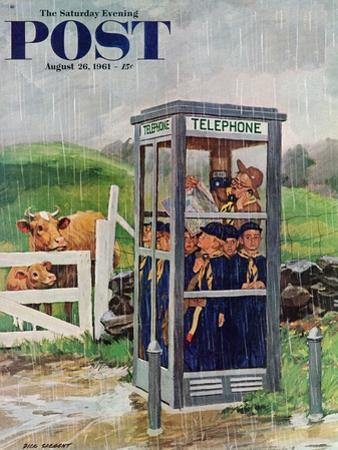 """Cub Scouts in Phone Booth,"" Saturday Evening Post Cover, August 26, 1961 by Richard Sargent"