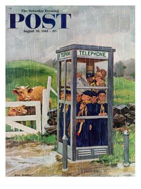"""""""Cub Scouts in Phone Booth,"""" Saturday Evening Post Cover, August 26, 1961 by Richard Sargent"""