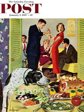 """""""Doggy Buffet"""" Saturday Evening Post Cover, January 5, 1957 by Richard Sargent"""