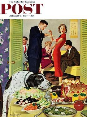 """Doggy Buffet"" Saturday Evening Post Cover, January 5, 1957 by Richard Sargent"