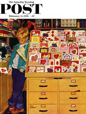 """First Valentine"" Saturday Evening Post Cover, February 11, 1956 by Richard Sargent"