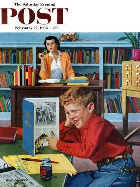 """Frog in the Library"" Saturday Evening Post Cover, February 25, 1956 by Richard Sargent"