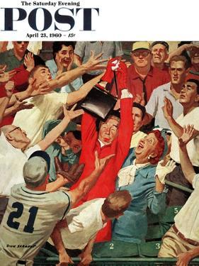 """Grandma Catches Fly-ball,"" Saturday Evening Post Cover, April 23, 1960 by Richard Sargent"