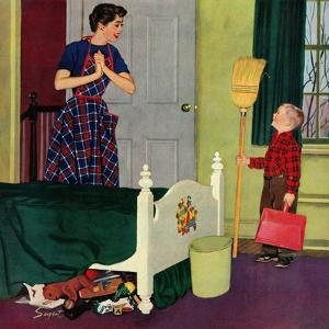 """Mom, I Cleaned My Room!"", April 2, 1955 by Richard Sargent"