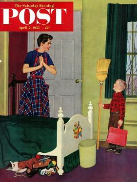 """Mom, I Cleaned My Room!"" Saturday Evening Post Cover, April 2, 1955 by Richard Sargent"