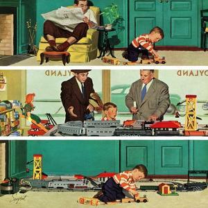 """New Toy Train"", December 19, 1953 by Richard Sargent"