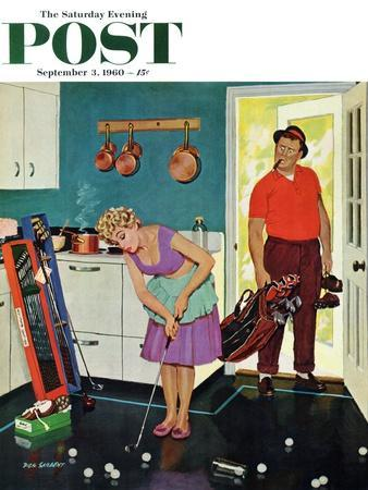 """""""Putting Around in the Kitchen,"""" Saturday Evening Post Cover, September 3, 1960"""
