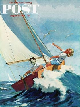 """Seasick Sailor"" Saturday Evening Post Cover, August 22, 1959 by Richard Sargent"