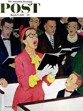 """Singing Praise"" Saturday Evening Post Cover, March 7, 1959 by Richard Sargent"
