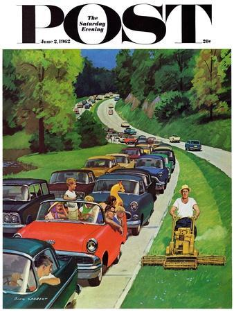 """""""Speeder on the Median,"""" Saturday Evening Post Cover, June 2, 1962"""