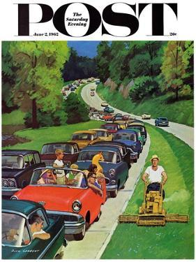 """Speeder on the Median,"" Saturday Evening Post Cover, June 2, 1962 by Richard Sargent"