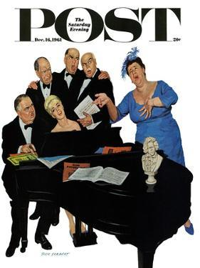 """""""The Fat Lady Sings,"""" Saturday Evening Post Cover, December 16, 1961 by Richard Sargent"""