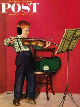 """Violin Practice"" Saturday Evening Post Cover, February 5, 1955 by Richard Sargent"