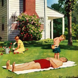 """Watering Father"", June 4, 1955 by Richard Sargent"