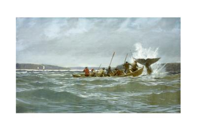 Basque Whalers Attempt to Tow a Wounded Whale Ashore to Newfoundland by Richard Schlecht