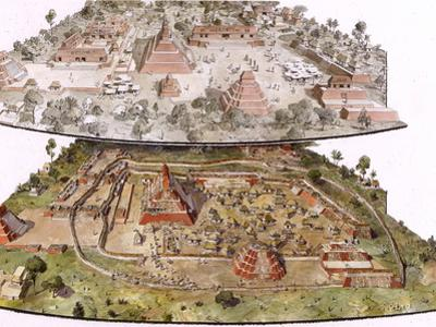 Mayan Settlement of Dos Pilas in Two Views before and after 761 A.D