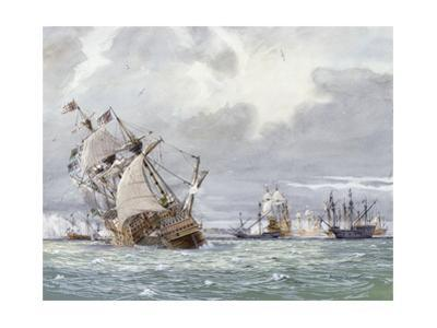 Oil Painting of the Sinking of the H.M.S. Mary Rose by Richard Schlecht