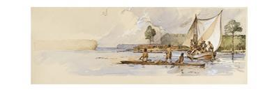 Watercolor of Captain John Smith in Discovery Barge Meeting Indians