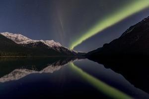 The Northern Lights over Chilkoot Lake. by Richard Seeley