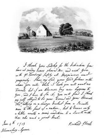 A Letter from Sir Richard Steele, and a View of His Cottage at Haverstock Hill, 1713
