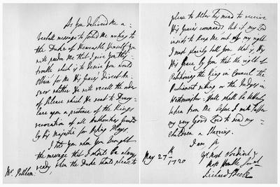 Letter from Sir Richard Steele to Henry Pelham, 27th May 1720