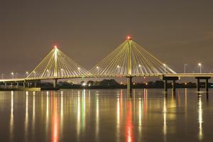 Clark Bridge at night over Mississippi River, Alton, Illinois by Richard & Susan Day