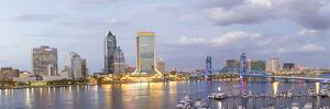 St. Johns River and Jacksonville Florida skyline at twilight, Jacksonville, Florida by Richard & Susan Day
