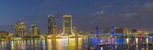 St. Johns River and Jacksonville skyline at twilight. Jacksonville, Florida. by Richard & Susan Day