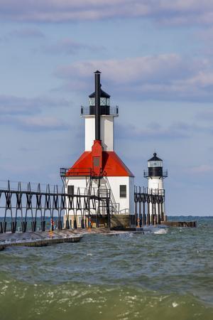 St. Joseph North Pier Lighthouses. St. Joseph, Michigan, USA.