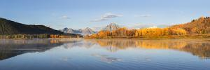 Sunrise at Oxbow Bend in fall, Grand Teton National Park, Wyoming by Richard & Susan Day