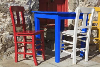 Table and Chairs in Bodrum, Turkey, Anatolia, Asia Minor, Eurasia