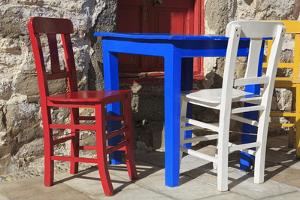 Table and Chairs in Bodrum, Turkey, Anatolia, Asia Minor, Eurasia by Richard