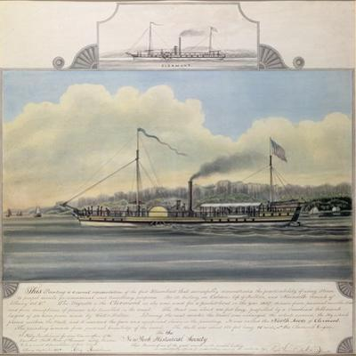 Hudson River Steamboat 'Clermont', 1858 (W/C on Paper Mounted on Canvas)