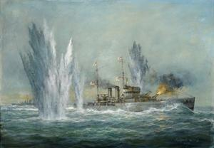 Hms Exeter Engaging in the Graf Spree at the Battle of the River Plate, 2009 by Richard Willis