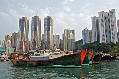 Fishing Trawlers at Anchor in Aberdeen Harbor, Hong Kong by Richard Wright
