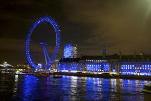 The London Eye Ferris Wheel Along the Thames Embankment at Night by Richard Wright