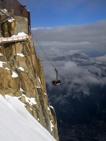 Cable Car Approaching Aiguille Du Midi Summit, Chamonix-Mont-Blanc, French Alps, France, Europe
