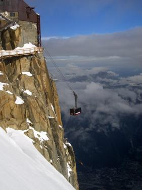 Cable Car Approaching Aiguille Du Midi Summit, Chamonix-Mont-Blanc, French Alps, France, Europe by Richardson Peter