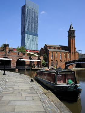 Canal Boat at Castlefield with the Beetham Tower in the Background, Manchester, England, UK by Richardson Peter